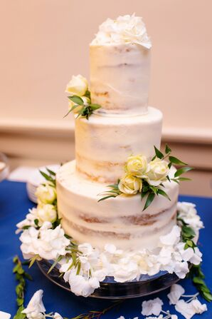 Tiered Semi-Naked Cake with Classic White and Ivory Flowers