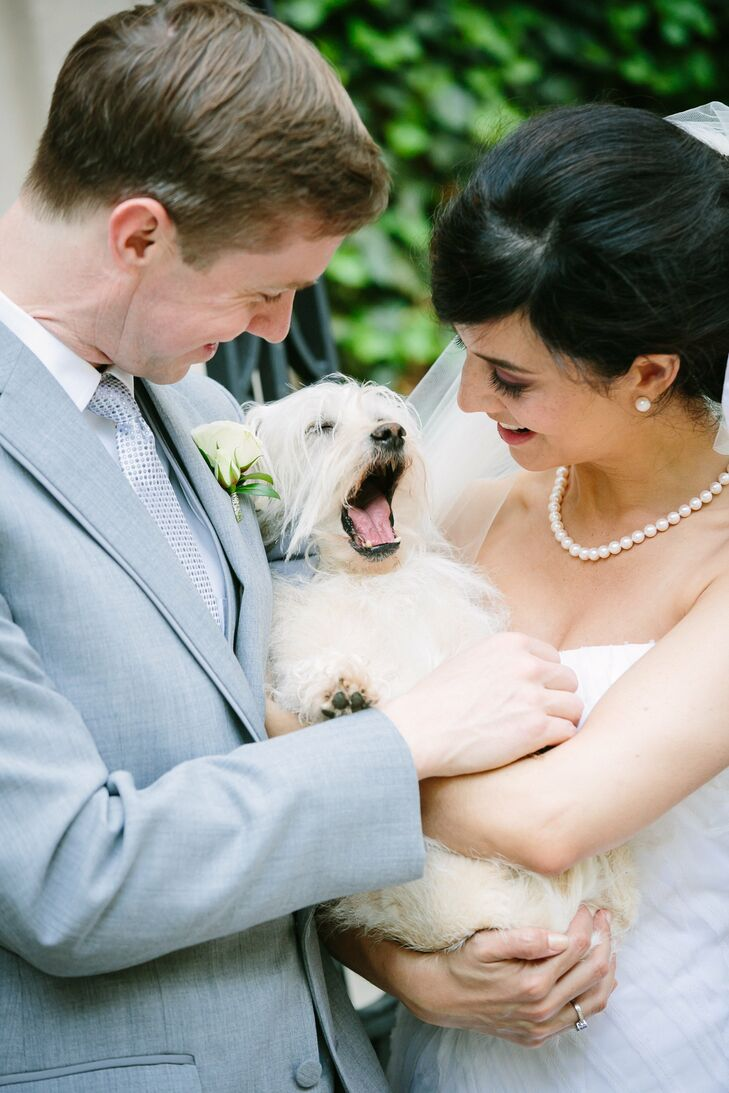 """The bride says that instead of having kids in the wedding, they had their """"exceptionally charming and handsome dog, Stan"""" step in as the ring bearer."""