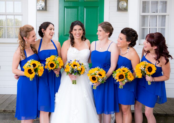 """Royal blue would not only look good on all my bridesmaids but it would really make the sunflowers pop,"" says Kristin."