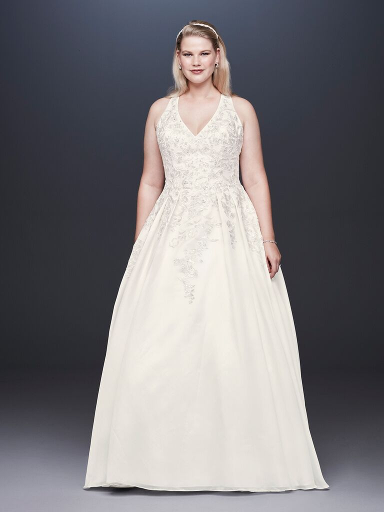 David's Bridal Spring 2019 embroidered wedding dress with a full skirt and V-neckline