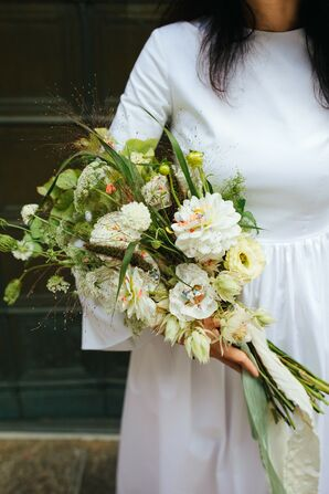 Modern, Whimsical Bouquet with Lisianthus and Dahlias