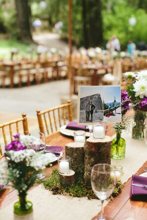 Tree Log and Candle Centerpieces