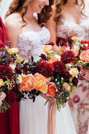 Burgundy and Peach Dahlia, Rose and Ranunculus Bouquet