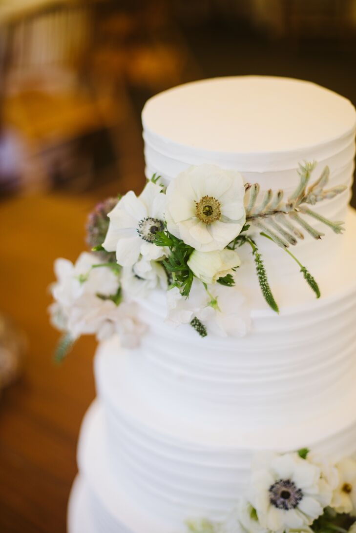 Round Frosted Cake Decorated with Anemones