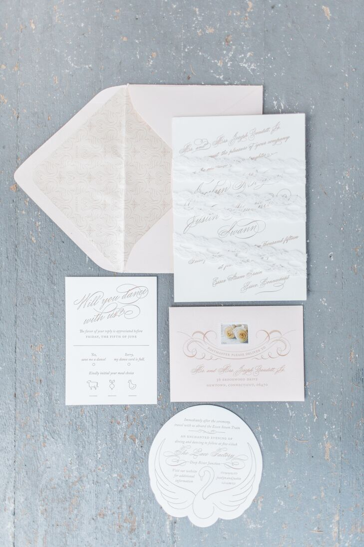 Custom Gold Calligraphy Invitations