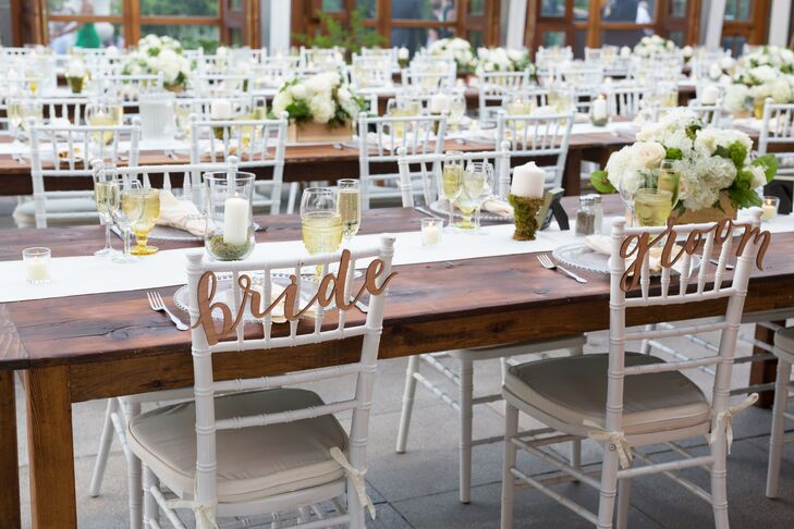 """""""Bride"""" and """"Groom"""" Reception Chair Signs"""