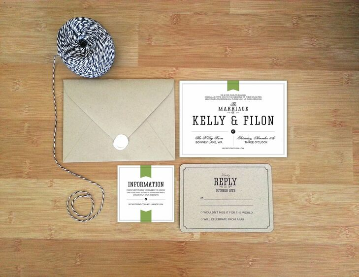 Since the bride, Kelly, works in graphic design, she created her own invitation suite, which is also available on her Etsy site, Etsy.com/shop/elizabethminna.