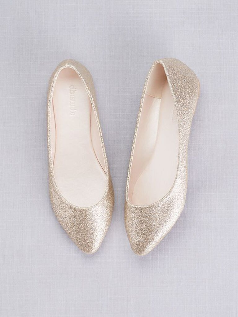 Gold glitter wedding pointed toe flats