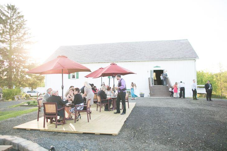 Open-Air Barn Patio With Umbrellas