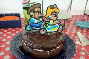 Mario Kart Couple Perler Cake Topper