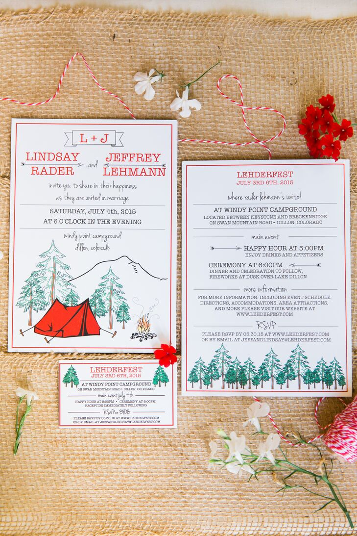 """""""When planning a wedding, you realize how much talent your friends and family have,"""" Lindsay says. """"If it weren't for them, this affair wouldn't have been so amazing."""" The pair enlisted Jeff's sister to create custom wedding invitations. The playful suite featured a red rent and a campfire set against a backdrop of mountains and forests, setting the tone for the casual affair at Windy Point Campground in Dillon, Colorado."""