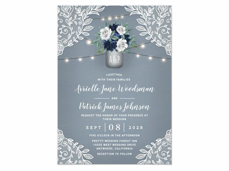 dusty blue and lace wedding invitation with mason jar from zazzle