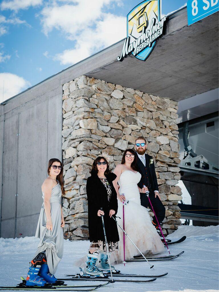 Ski-themed mountain wedding in Austria