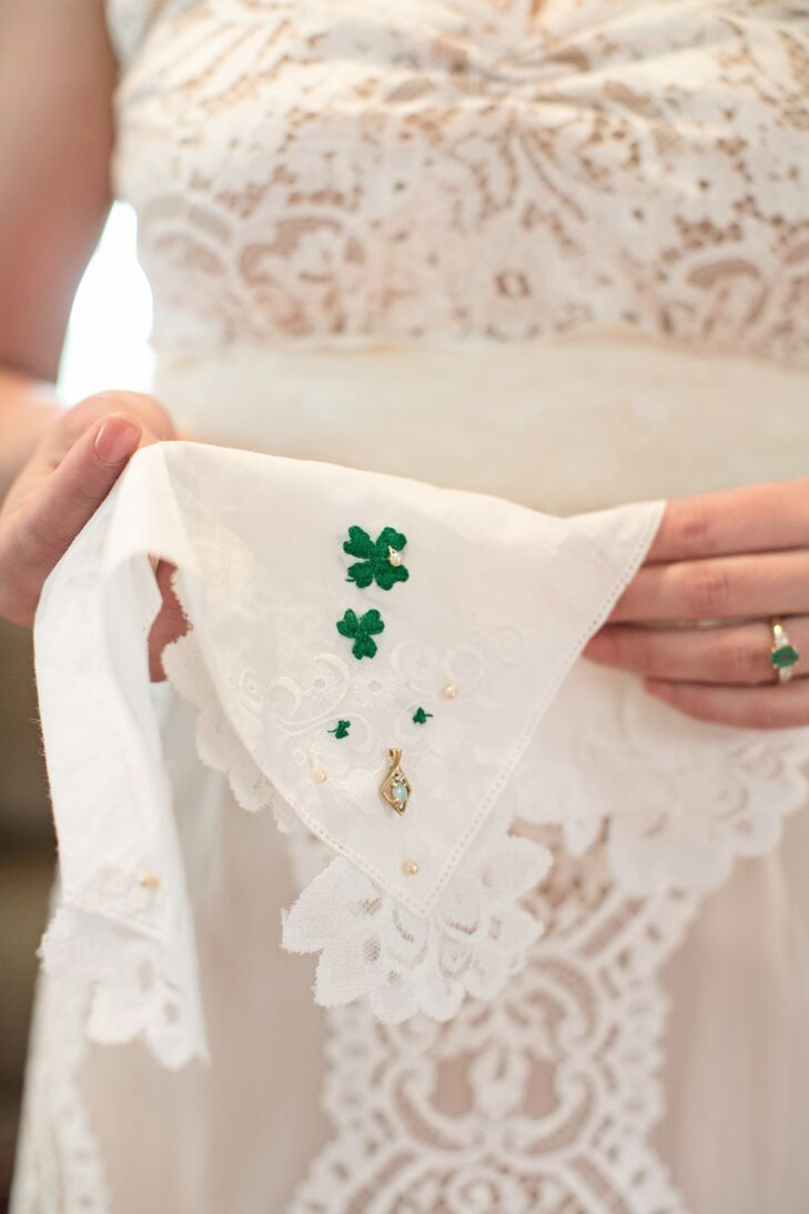 """""""My favorite accessory was a handkerchief that I tied around my bouquet,"""" Kate says. """"This handkerchief was hand sown by my mother with a clover and opal attached to it. The clover represents our Irish heritage and the opal was a gift my dad gave to her on their first anniversary, signifying everlasting love."""""""
