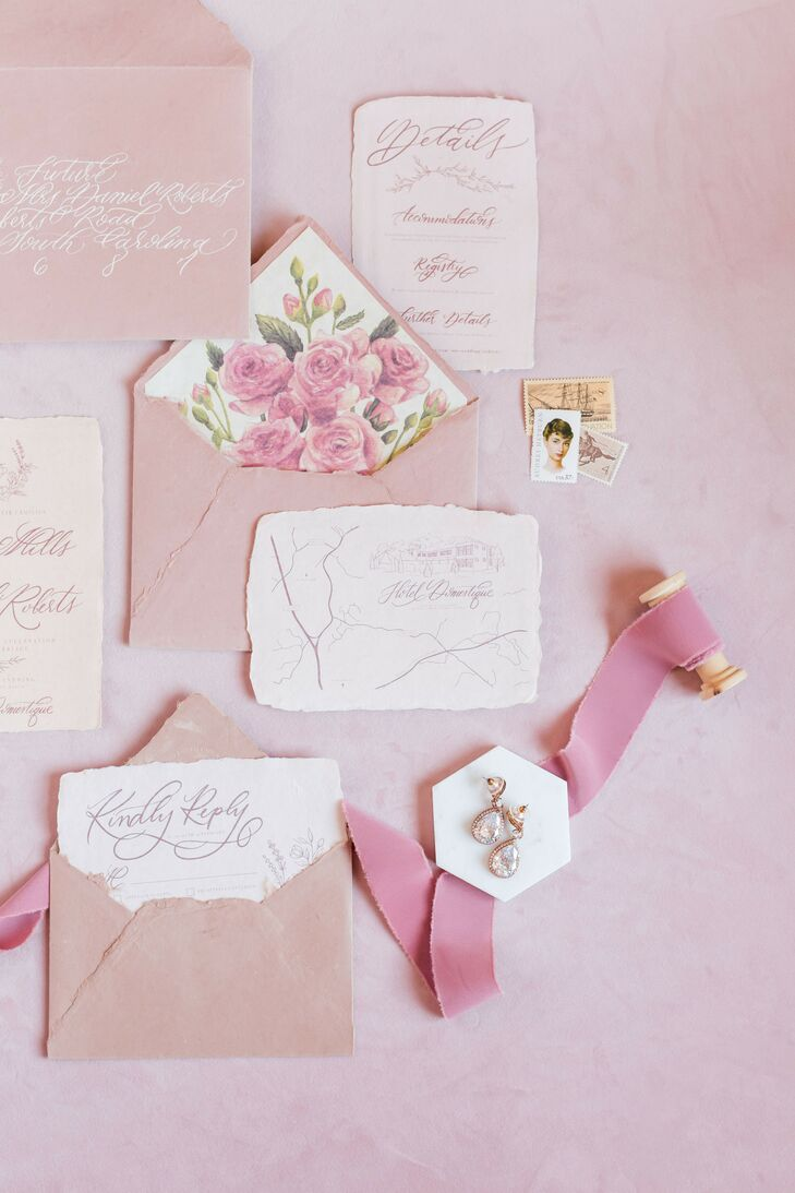 Romantic Blush Invitation Suite with Rose Envelope Liner and Calligraphy