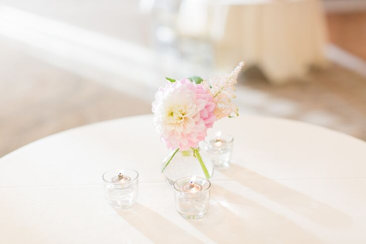 Simple Pink Dahlia Cocktail Hour Centerpieces