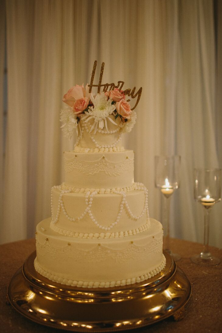 Vintage Inspired Lace And Pearl Wedding Cake