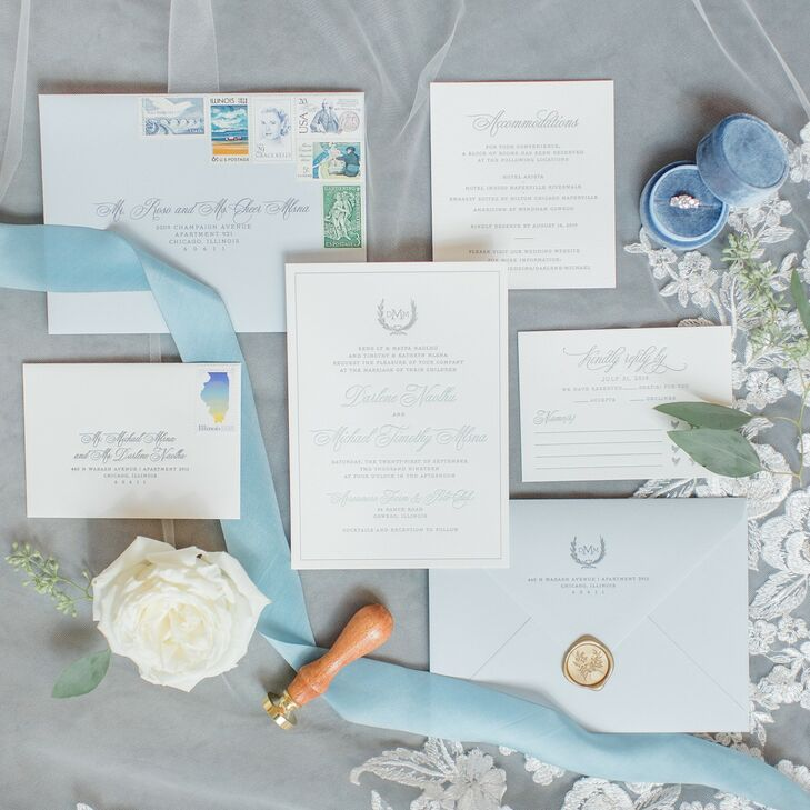 Classic Paper Goods with Calligraphy and Pastel-Blue Accents