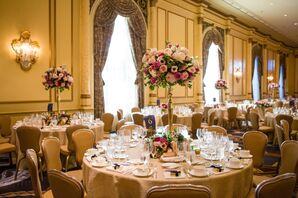 Tall Blush and Fuchsia Rose Centerpieces