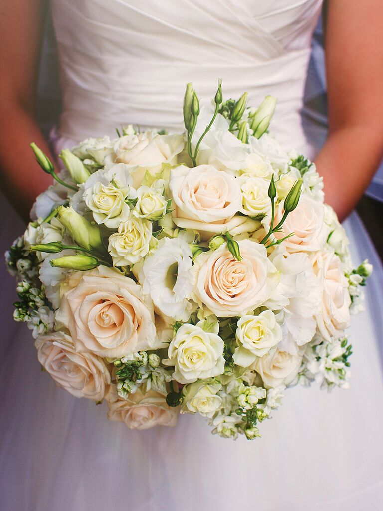 White And Blush Wedding Bouquet With Roses