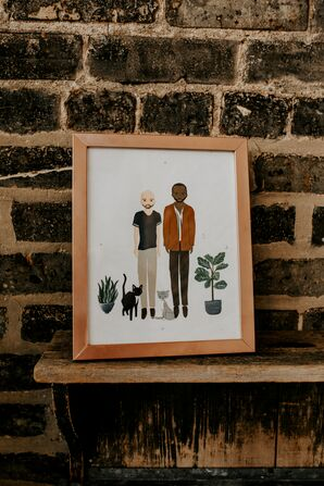 Personalized Watercolor Artwork in Wood Frame