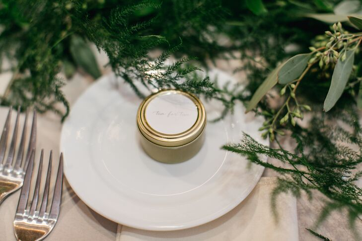 Each of the wedding's 85 guests were treated to hand-packed gold containers of loose-leaf earl grey tea.