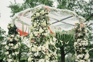 Mandap Covered in Hyrdrangeas
