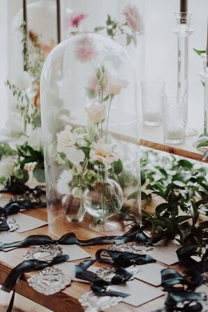 Neutral Flowers Under Glass Cloche Centerpiece