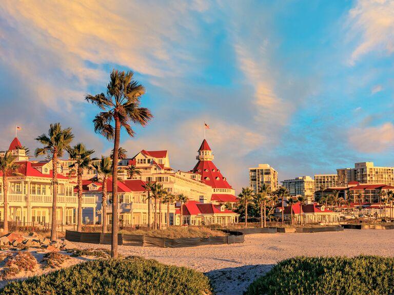 San Diego beach, blue sky and palm trees
