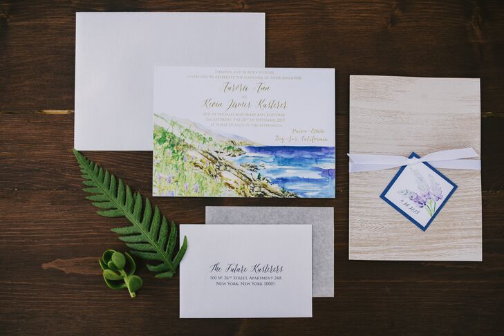 Custom vintage-inspired postcards served as the couple's save-the-dates and invitations. Momental Designs painted the event's invites, programs and menu cards.