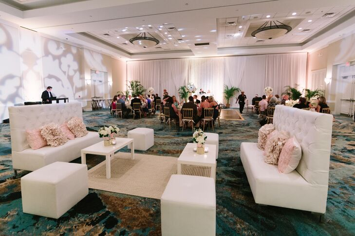 After an outdoor reception along the Hawks Cay Resort's dolphin deck, the couple and their guests moved into an adjoining ballroom for the reception.