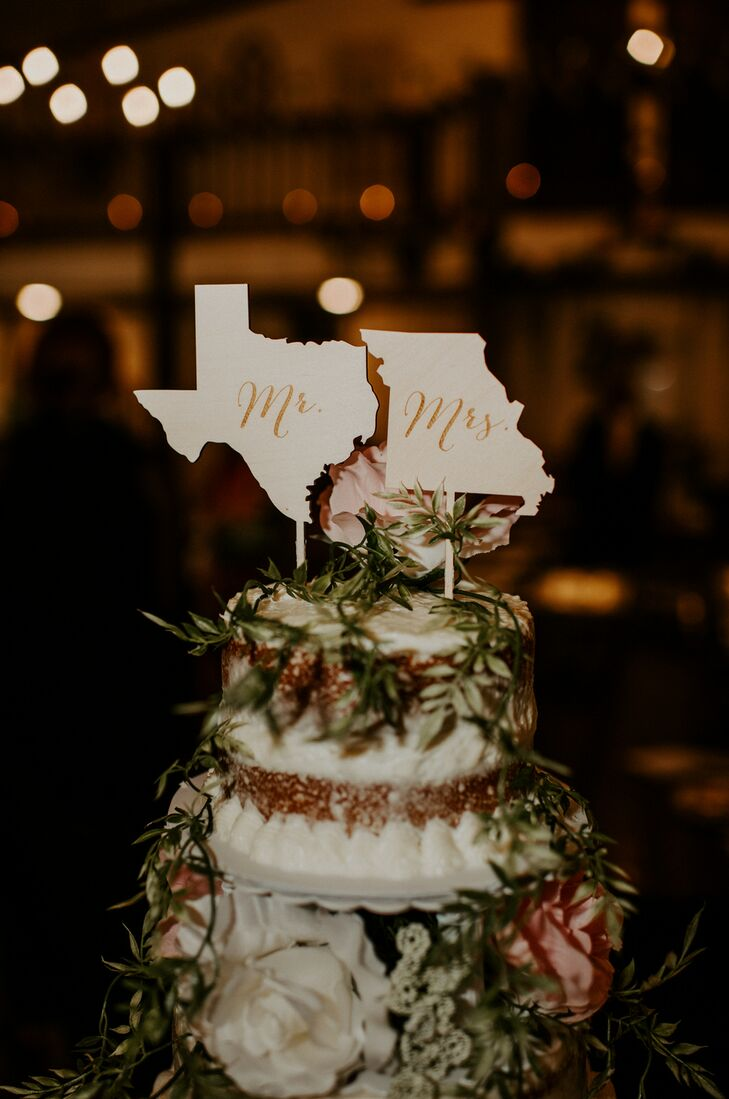Naked Cake with State-Shaped Cake Toppers for Rustic Wedding