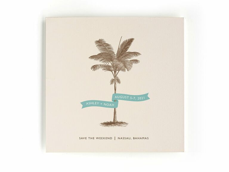 Minted palm tree destination wedding save-the-date