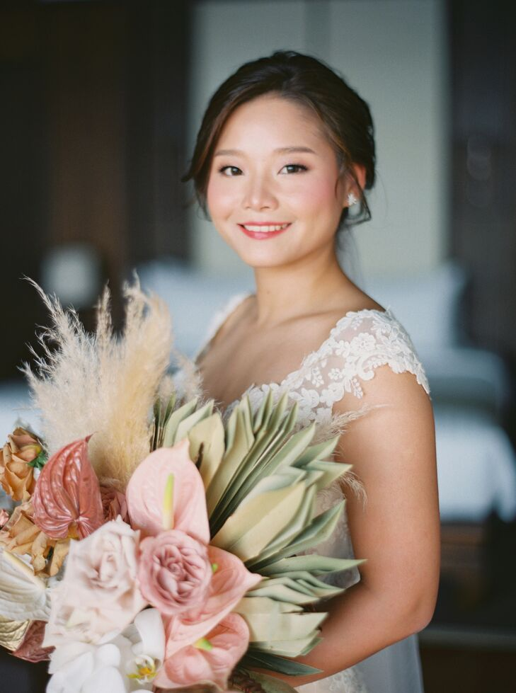 Bride with Anthurium and Pampas Grass Wedding Bouquet