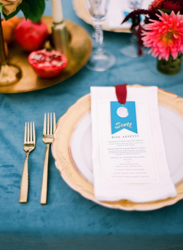 Dusty Blue Velvet Table Linen