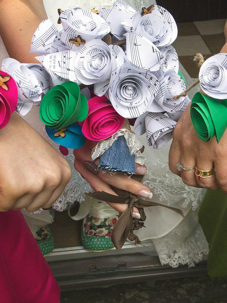 Unique wedding bouquet idea with sheet music paper roses