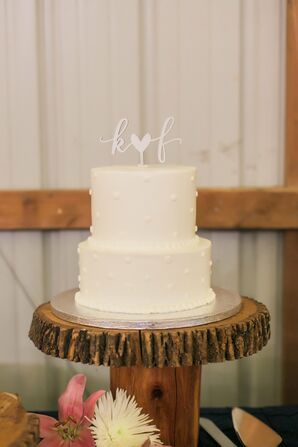 Simple Dot-Design Cake on Rustic Cake Stand