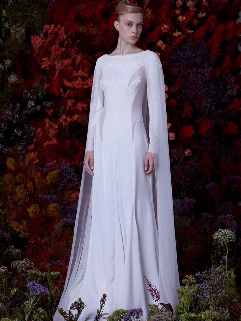 EDEM A-line dress with long sleeves and tulle cape