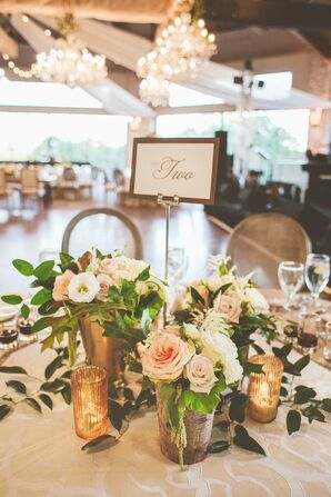 Rustic Vintage Blush Rose Table Centerpieces