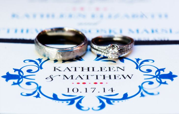The wedding invitations were formal, with a Moroccan pattern of blue, orange and chocolate elements.