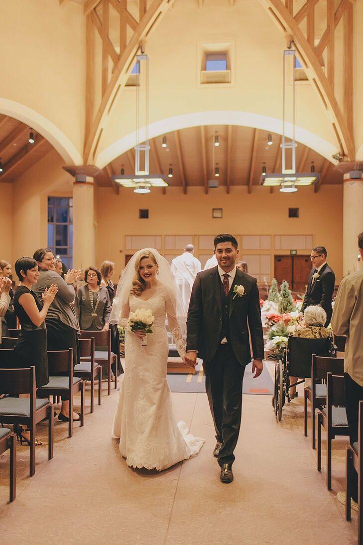 The couple's ceremony took place at Padre Serra Parish in Camarillo, California.