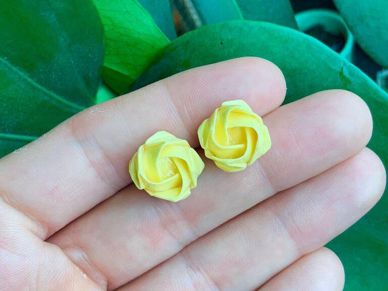 Origami flower earrings paper anniversary gift for her