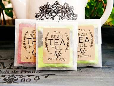 Cute tea wedding favors