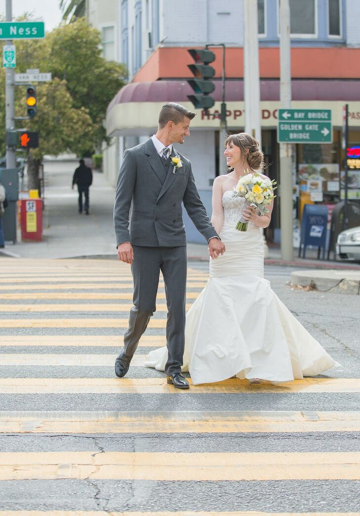 Married Couple Crossing Urban Street