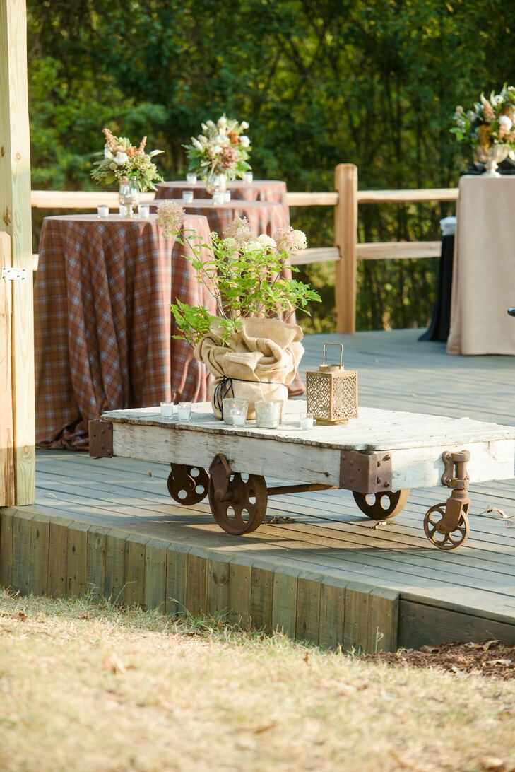 Rustic Plaid Cocktail Tables and Wooden Antique Decor
