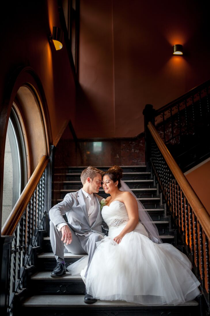 Emily and Phillip on the Staircase of Arlington United Methodist Church