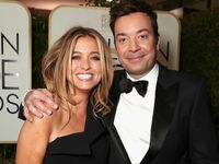 Nancy Juvonen and host Jimmy Fallon attends the 74th Annual Golden Globe Awards at The Beverly Hilton Hotel on January 8, 2017 in Beverly Hills, California.
