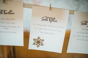Gold Snowflake-Adorned Escort Cards