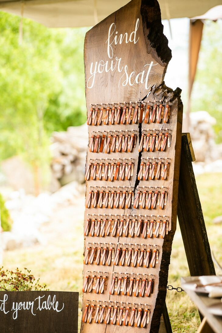 Wood Seating Chart with Leather Keychain Escort Cards