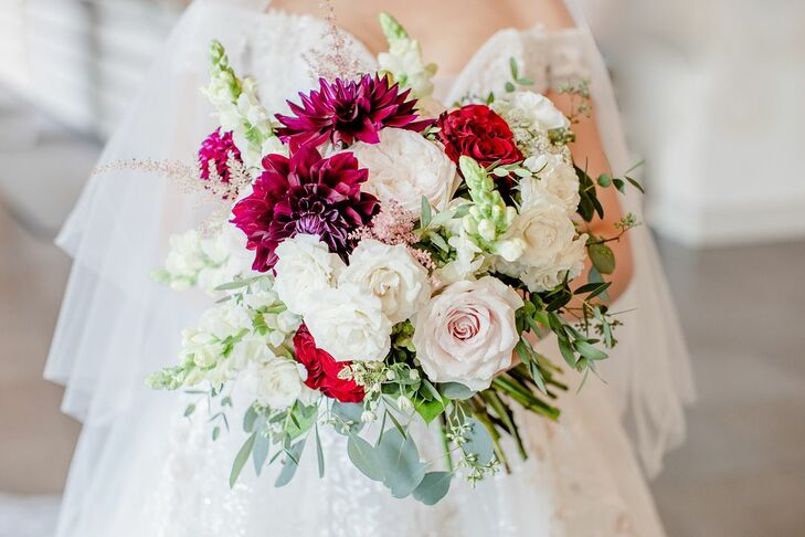 Dahlia-and-Rose Bouquet for Wedding at the University of Illinois